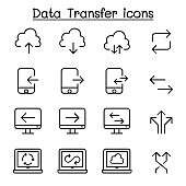 Cloud computer, data transmission, data mining, data warehouse, download, upload icon set in thin line style