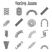 Spring, coil and absorber icon set in thin line style