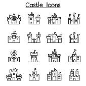 Castle & Palace icon set in thin line style