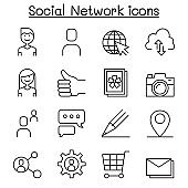 Social network, Social media icon set in thin line style
