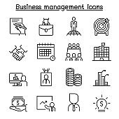 Business management icon set in thin line style