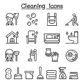 Cleaning house & Hygiene icon set in thin line style