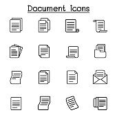 paper, file, document, folder, infomation, data icon set in thin line style