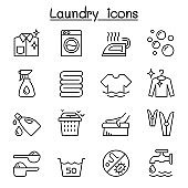 Laundry icon set in thin lline style