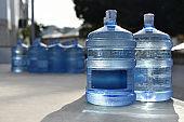 Plastic bottles of natural spring water