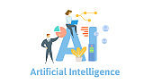 AI, artificial intelligence. Concept with people, letters and icons. Flat vector illustration. Isolated on white background.