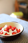 Strawberry with cream on table dessert