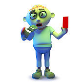 Scary undead zombie referee blows his whistle and holds up a red card, 3d illustration