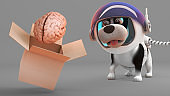 Surprised puppy dog in spacesuit watches a brain rise out of box, 3d illustration