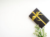 Romantic set, Rustic Gift box with gold ribbon and green