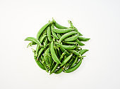 Pod peas Isolated on white background. Concept of healthy eating, fresh vegetables.