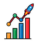 Growth chart cartoon vector concept.Cute color bar graph with launch rocket illustration on white background.Modern flat progress financial line graph design.