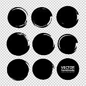 Abstract black ink textured round brush strokes on imitation transparent background