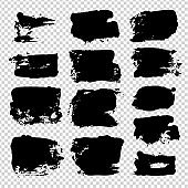 Abstract black ink textured strokes on imitation transparent background