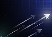 Arrow growth concept vector illustration.Technology on dark blue black background design.Business financial presentation template.Arrow,star and grid line elements style.