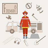 Colorful vector alphabet. Book of professions. Profession Firefighter. Letter F