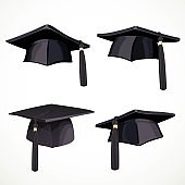 Set of black graduate cap with a tassel isolated on white background