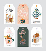 Christmas gift tag with cute hygge ilustration and holiday lettering wishes.