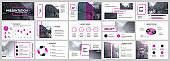 Presentation template. Purple Elements for slide presentations on a white background.