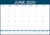 June 2020 desk calendar vector illustration