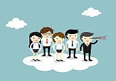 Group of business people standing on the cloud following boss who using a telescope. Vector illustration.