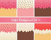 Set of strawberry cream and chocolate wafer vector.