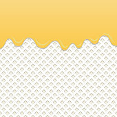 Flowing yellow cream on milk wafer vector.