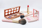 Cosmetics on white background, beauty concept.