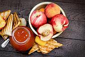 Peach jam, homemade peach marmalade and toast