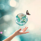 World environment day, ecology and ozone layer protection concept with woman's hand supporting earth planet under sun light flare with beautiful butterfly: Elements of this image furnished by NASA