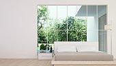 3D Rendering corner interior bedroom space and view nature