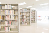 Blur school library or study room with book shelves for education background