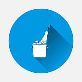 Vector champagne bottle icon in ice bucket icon on blue background. Flat image with long shadow.