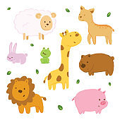 Vector illustration animal doodle with pastel color.