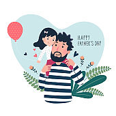 Happy father's day card. Cute little girl on her father's shoulder in heart shaped.