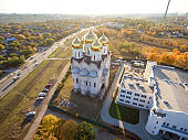 Aerial view to residential area and Orthodox church in Kharkiv,