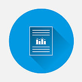 Vector document icon with growth rate and text on blue background. Symbol of fast money. Flat image with long shadow.
