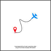 Airplane flight path vector icon. Travel to target on white isolated background.