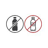 Stop, no plastic bottle sign. Vector icon template