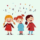 Three little girl singing a song on blue background. Happy three kids singing together.