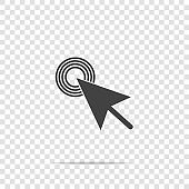 Arrow, the cursor pointing to the point. The cursor clicks on the button vector icon on transparent background.