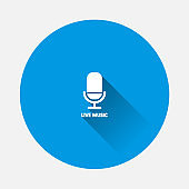 Vector icon microphone on blue background. Flat image with long shadow.