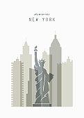 Modern poster illustration with New York, Usa, America skyline.