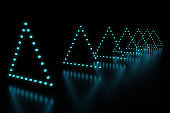 Row of triangle blue LED light