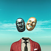Headless person with two face mask above suit. 3d render illustration