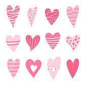 Set of hearts pink color.