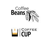 Coffee logo, hand drawn and minimal cup with filter coffee design.