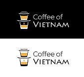 Coffee of Vietnam logo with Vietnamese coffee filter on the glass.