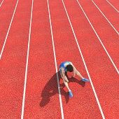 Top view of a defeated athlete on running track. 3d render illustration