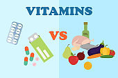 Vegetables and fruit against drugs concept banner vector illustration. Healthy lifestyle vs medication. Pear, apple, orange, cucumber, carrot, tomato, pepper, eggplant, chicken.